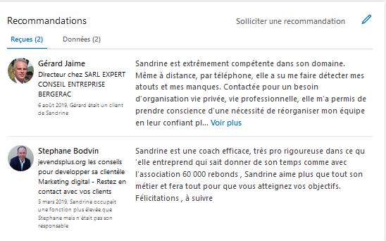 recommandations avis LinkedIn coaching Sandrine TARIS-LALANNE